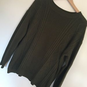 UO | Olive Green Oversized Sweater Elbow Patch | S